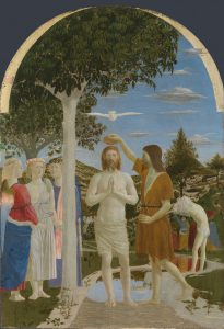 Full title: The Baptism of Christ Artist: Piero della Francesca Date made: 1450s Source: http://www.nationalgalleryimages.co.uk/ Contact: picture.library@nationalgallery.co.uk Copyright © The National Gallery, London